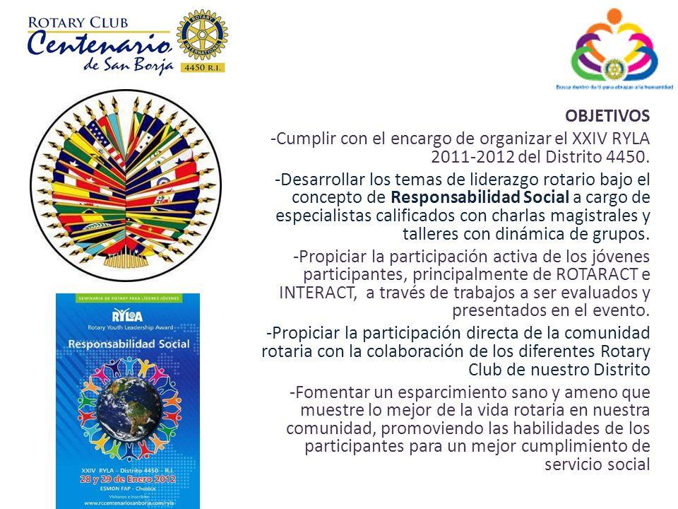 OBJETIVOS Cumplir con el encargo de organizar el XXIV RYLA 2011-2012 del Distrito 4450.