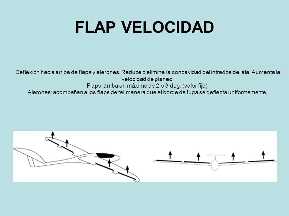 Flaps: arriba un máximo de 2 o 3 deg. (valor fijo).
