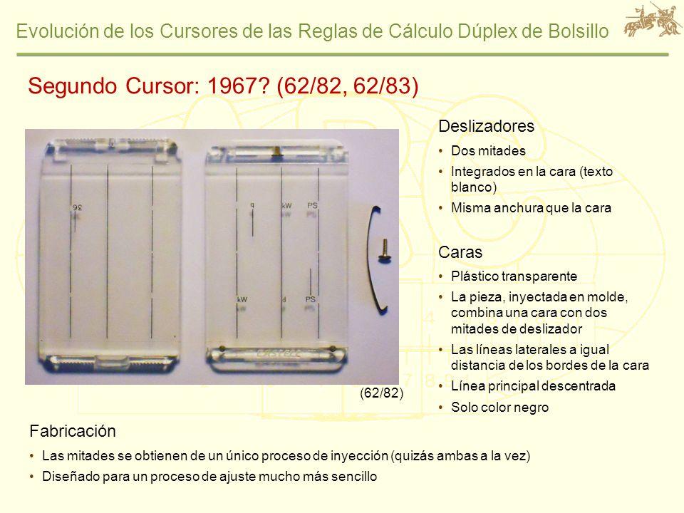 Segundo Cursor: 1967 (62/82, 62/83) Deslizadores Caras Fabricación