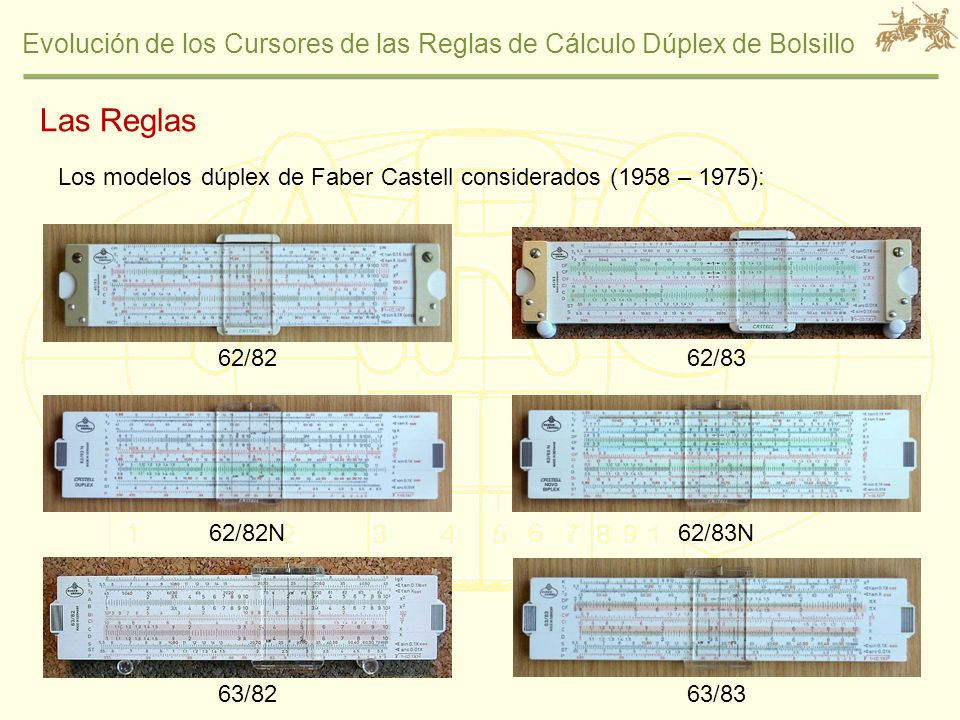 Las Reglas Los modelos dúplex de Faber Castell considerados (1958 – 1975): 62/82. 62/83. 62/82N.