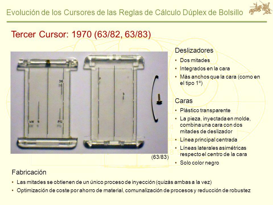 Tercer Cursor: 1970 (63/82, 63/83) Deslizadores Caras Fabricación
