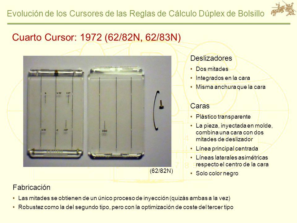 Cuarto Cursor: 1972 (62/82N, 62/83N) Deslizadores Caras Fabricación