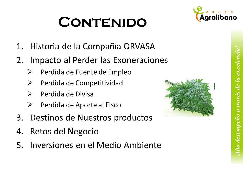 Contenido Historia de la Compañía ORVASA