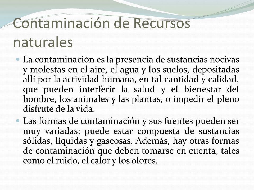 Contaminación de Recursos naturales