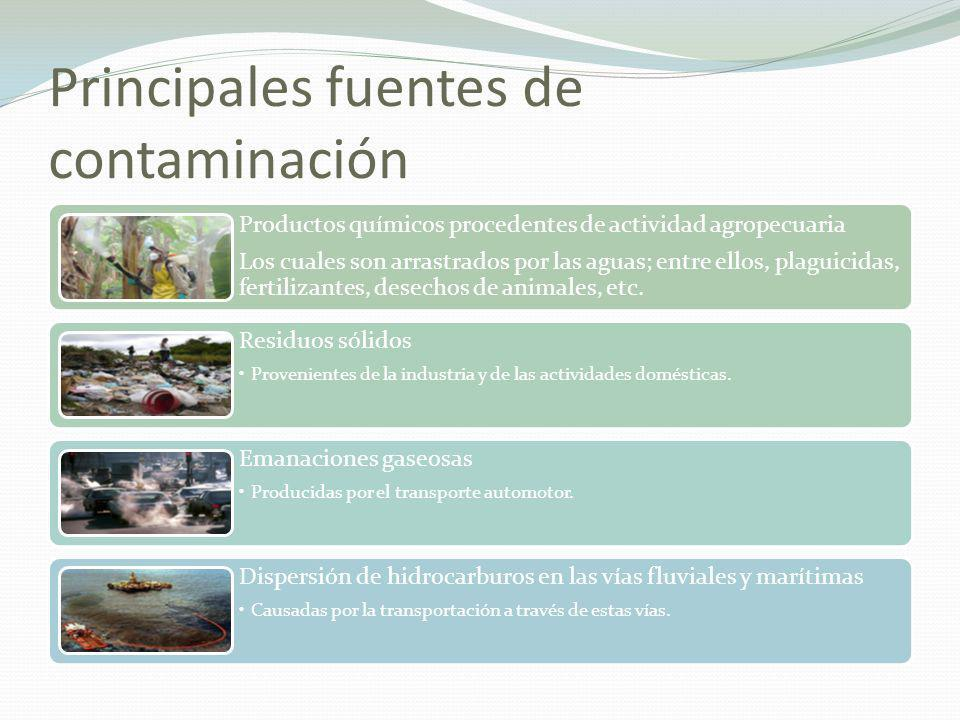 Principales fuentes de contaminación