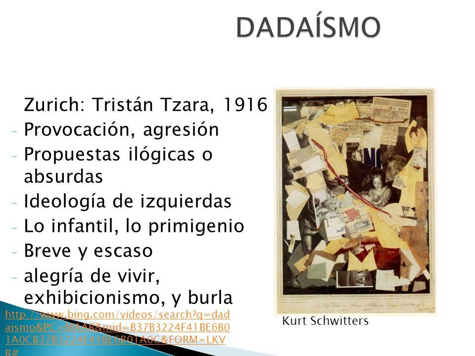 DADAÍSMO Zurich: Tristán Tzara, 1916 Provocación, agresión