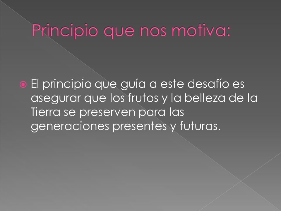 Principio que nos motiva: