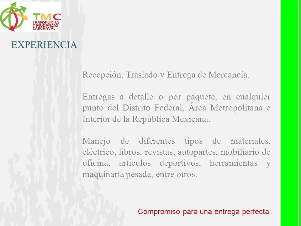EXPERIENCIA Recepción, Traslado y Entrega de Mercancía.