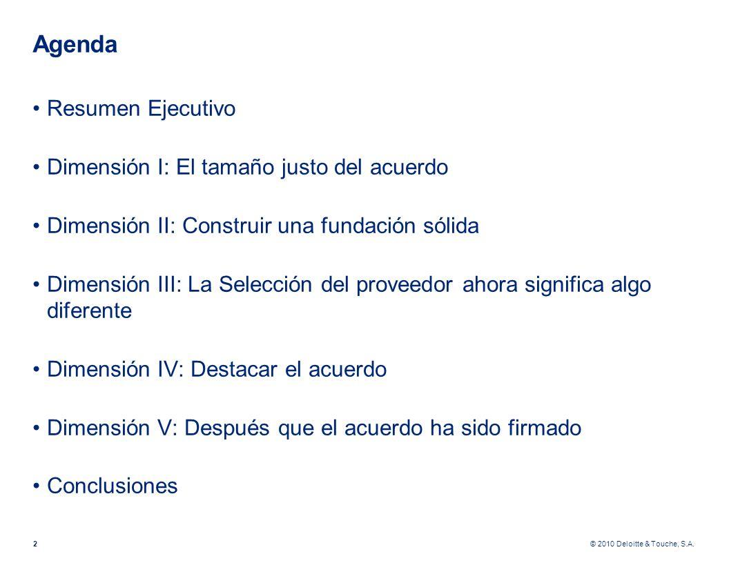 Agenda Resumen Ejecutivo Dimensión I: El tamaño justo del acuerdo