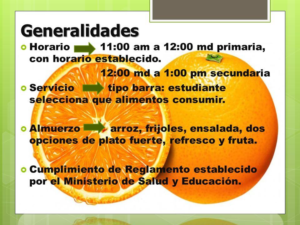Generalidades Horario 11:00 am a 12:00 md primaria, con horario establecido. 12:00 md a 1:00 pm secundaria.