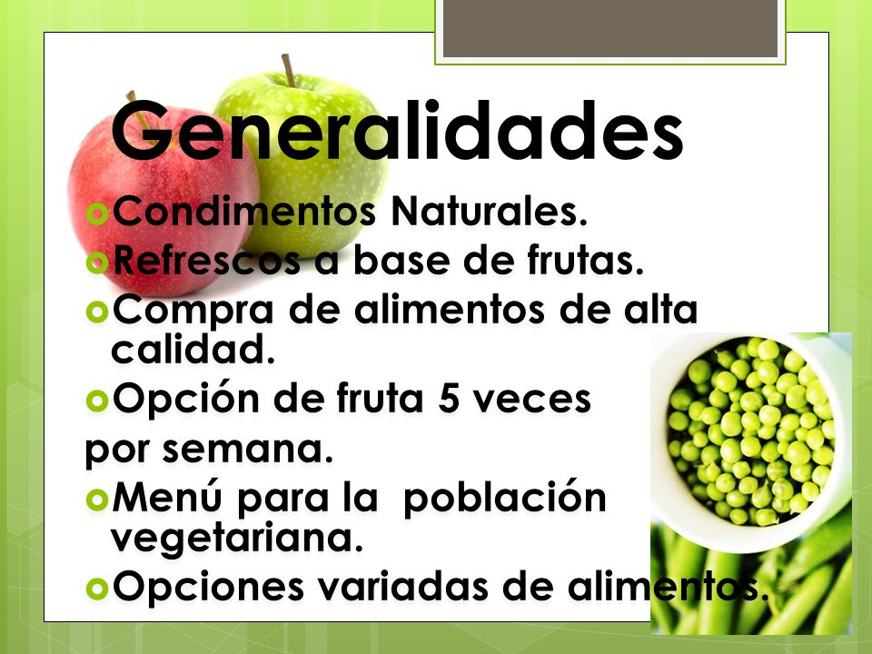 Generalidades Condimentos Naturales. Refrescos a base de frutas.