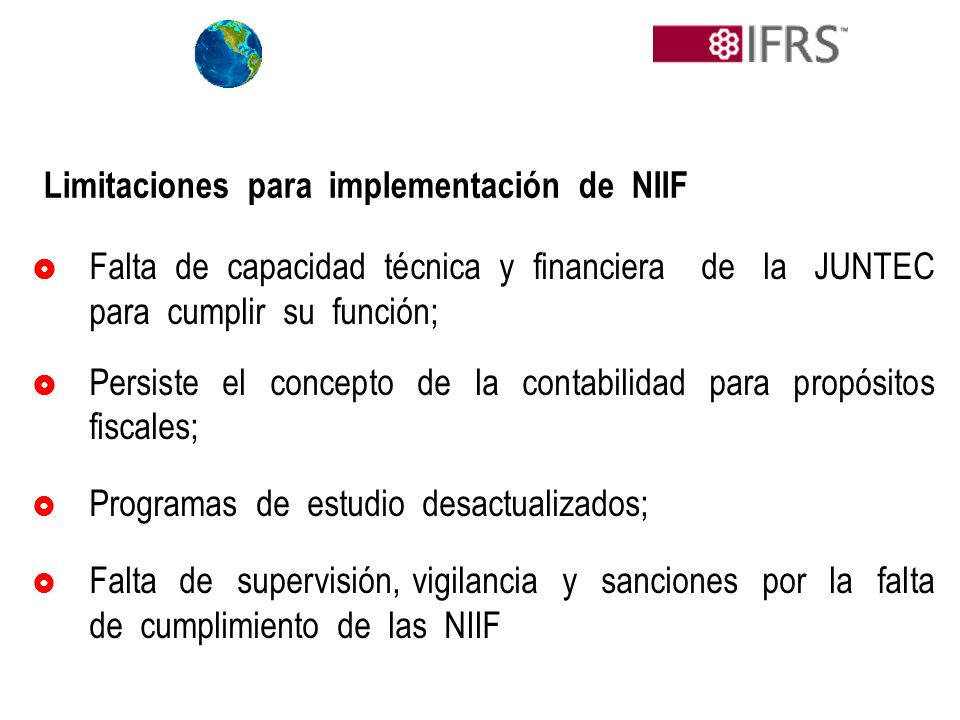 Limitaciones para implementación de NIIF