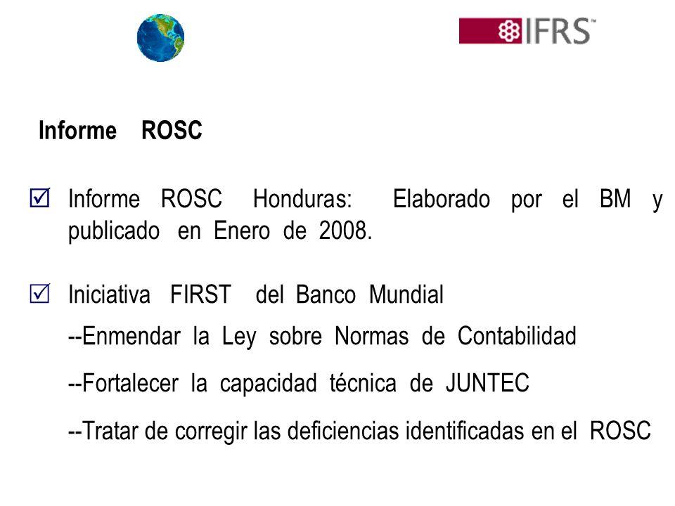 Informe ROSC  Informe ROSC Honduras: Elaborado por el BM y publicado en Enero de 2008.