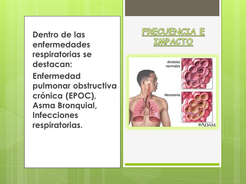 FRECUENCIA E IMPACTO Dentro de las enfermedades respiratorias se destacan: