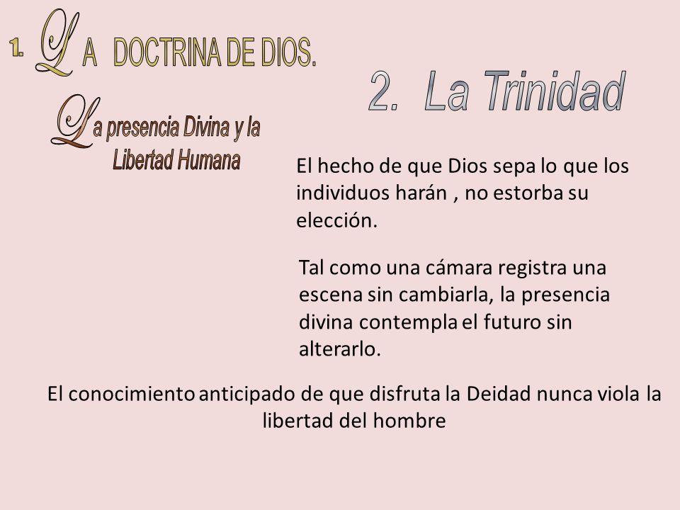 L A DOCTRINA DE DIOS. 1. 2. La Trinidad L a presencia Divina y la