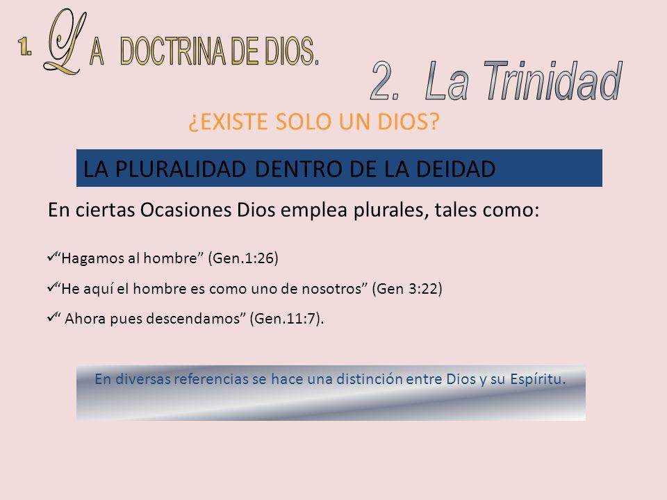 L A DOCTRINA DE DIOS. 1. 2. La Trinidad ¿EXISTE SOLO UN DIOS