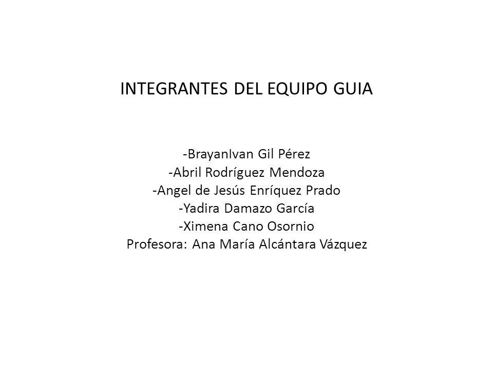 INTEGRANTES DEL EQUIPO GUIA