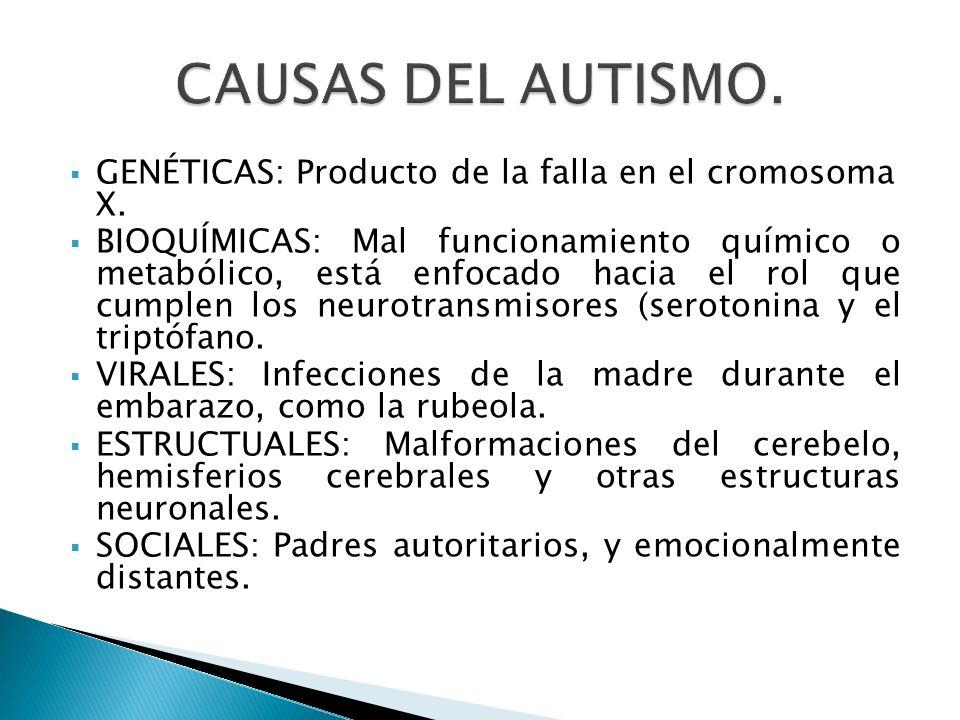 CAUSAS DEL AUTISMO. GENÉTICAS: Producto de la falla en el cromosoma X.