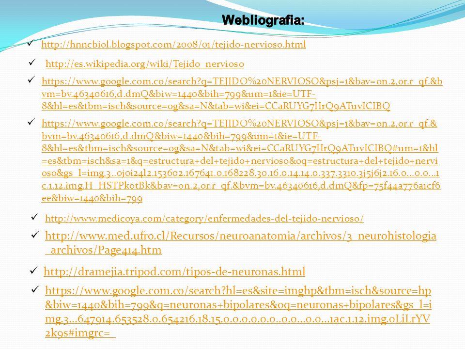 Webliografia: http://hnncbiol.blogspot.com/2008/01/tejido-nervioso.html. http://es.wikipedia.org/wiki/Tejido_nervioso.