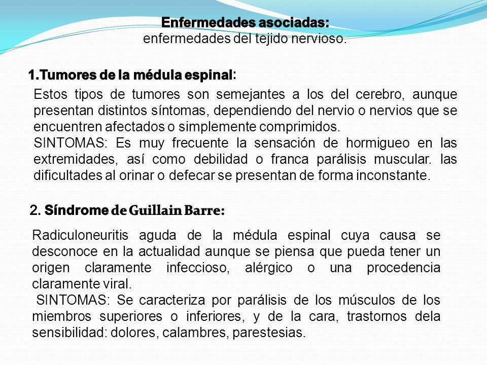 Enfermedades asociadas: 1.Tumores de la médula espinal: