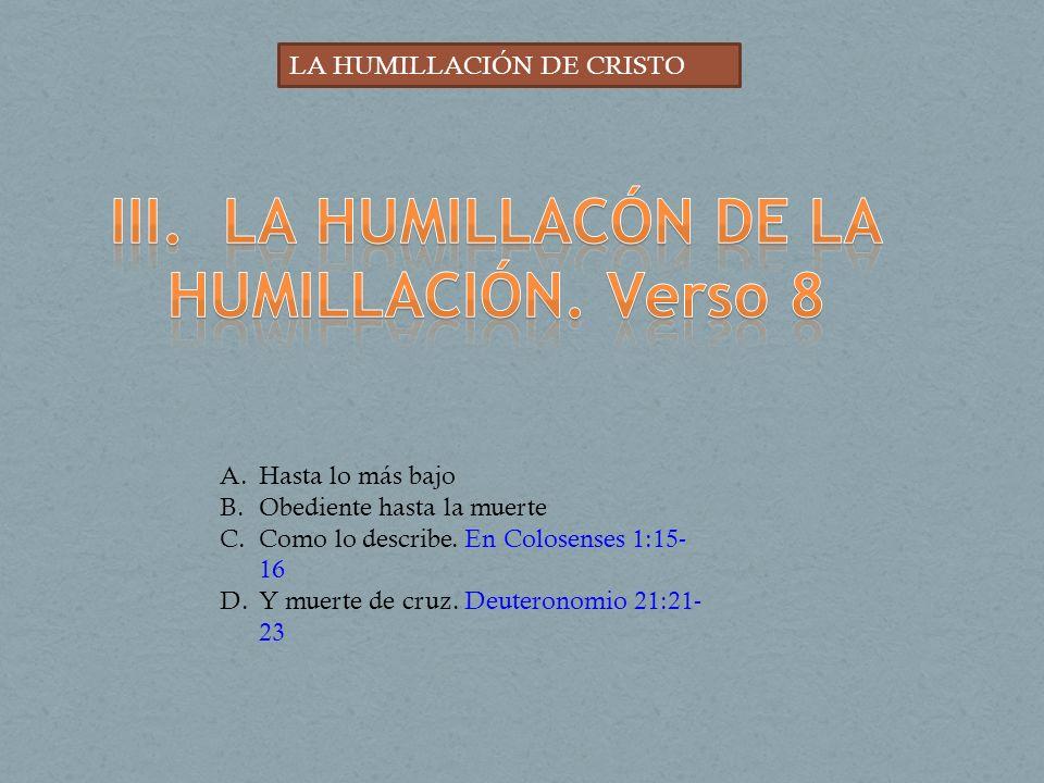 III. LA HUMILLACÓN DE LA HUMILLACIÓN. Verso 8