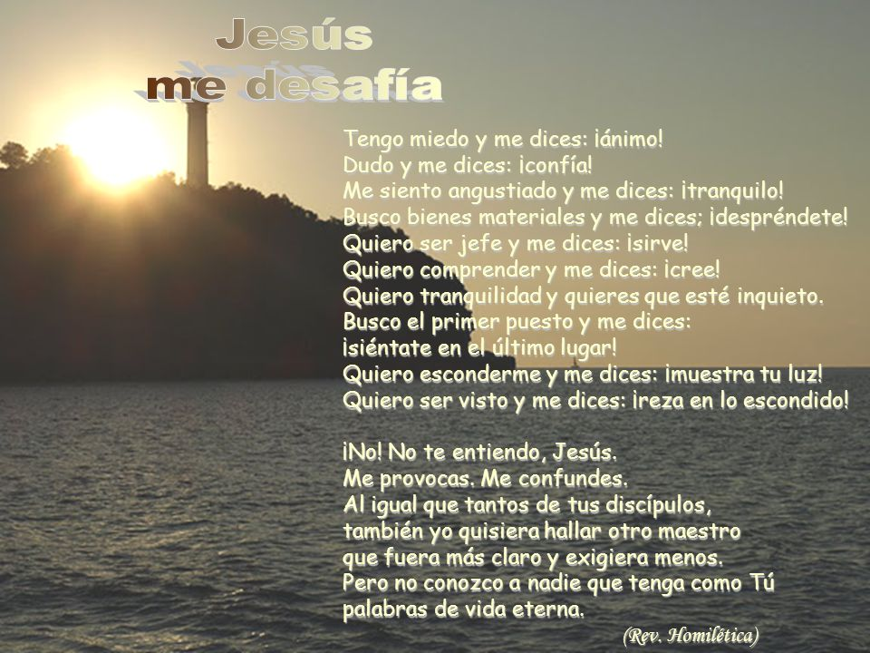 Jesús me desafía. Tengo miedo y me dices: ¡ánimo! Dudo y me dices: ¡confía! Me siento angustiado y me dices: ¡tranquilo!