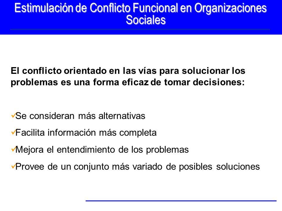 Estimulación de Conflicto Funcional en Organizaciones Sociales