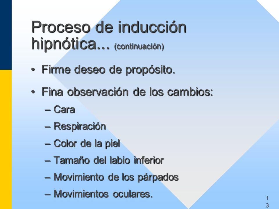 Proceso de inducción hipnótica... (continuación)