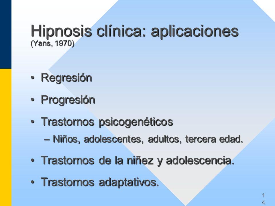 Hipnosis clínica: aplicaciones (Yans, 1970)