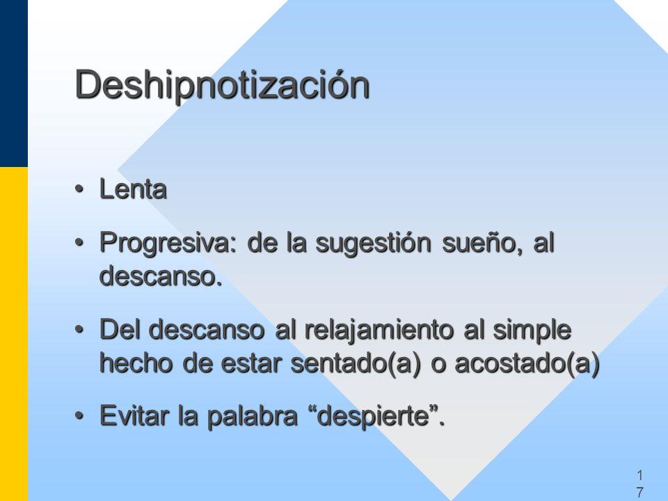 Deshipnotización Lenta Progresiva: de la sugestión sueño, al descanso.