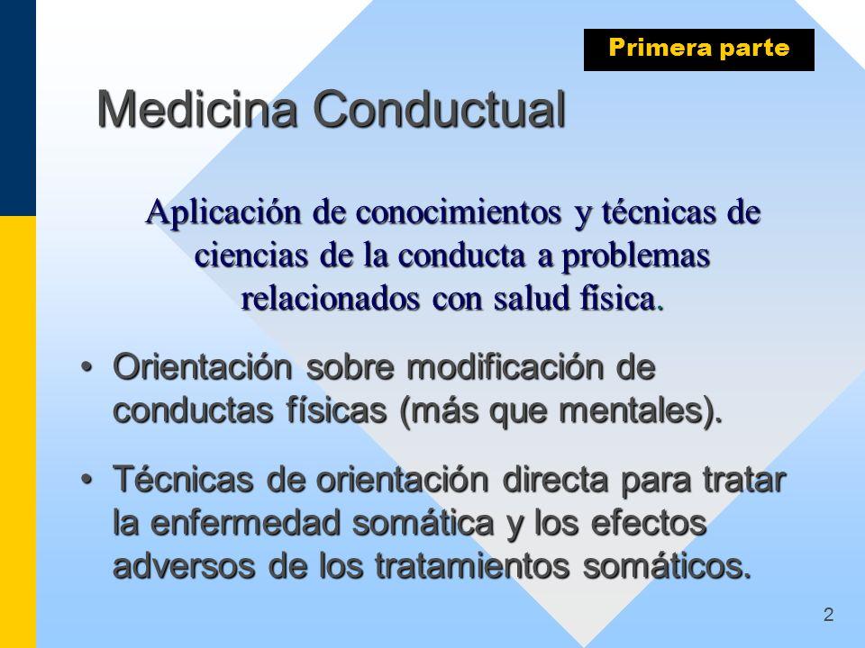 Primera parte Medicina Conductual. Aplicación de conocimientos y técnicas de ciencias de la conducta a problemas relacionados con salud física.
