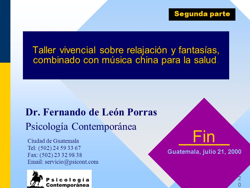Fin Dr. Fernando de León Porras Psicología Contemporánea