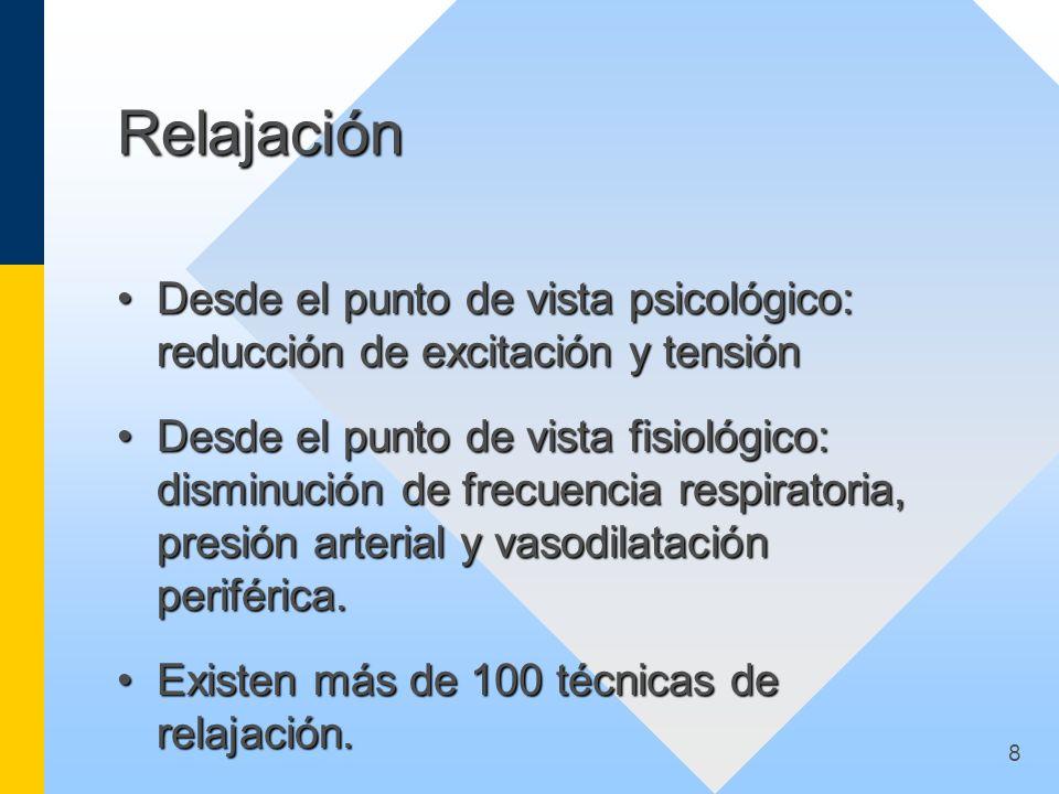 Relajación Desde el punto de vista psicológico: reducción de excitación y tensión.
