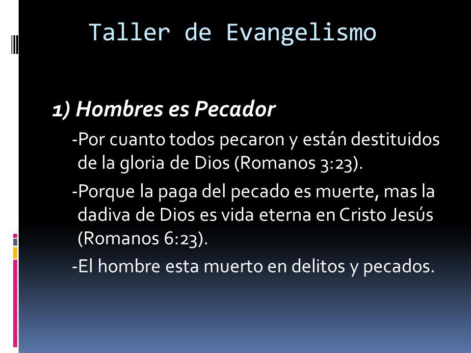 Taller de Evangelismo 1) Hombres es Pecador