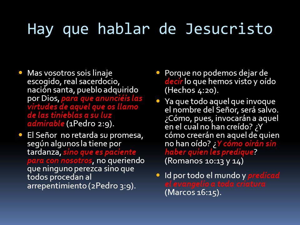 Hay que hablar de Jesucristo
