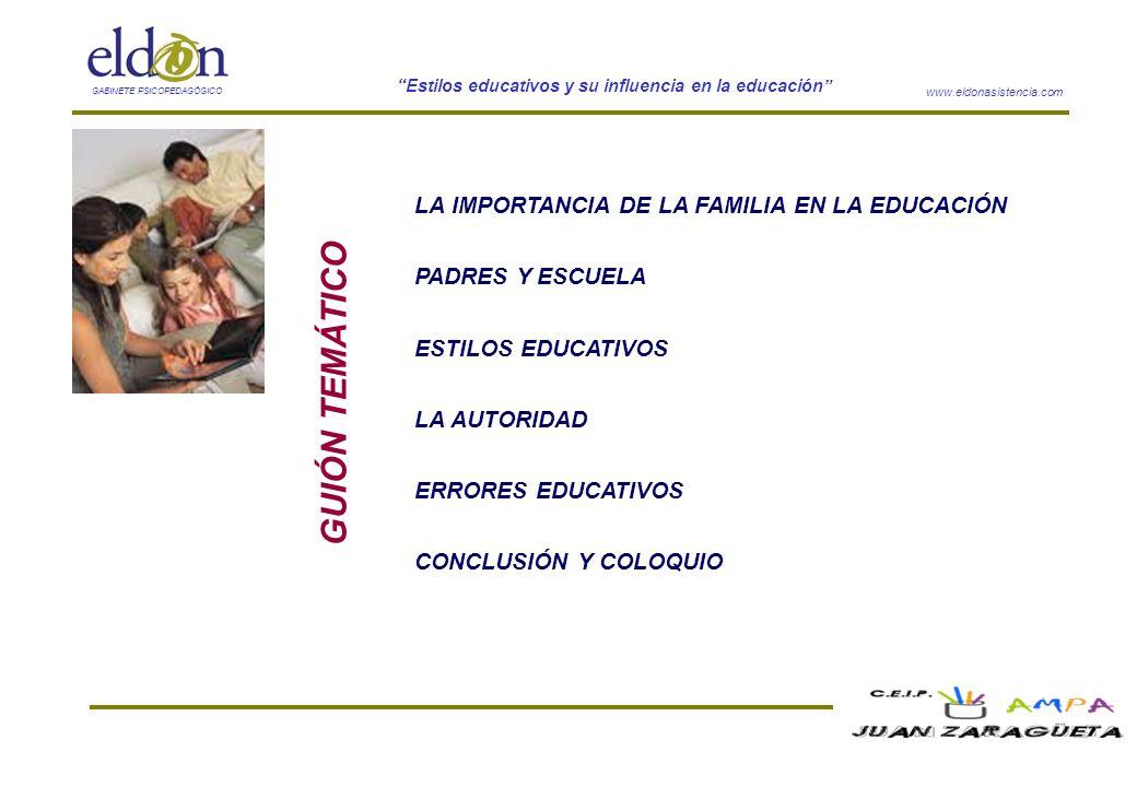 GUIÓN TEMÁTICO LA IMPORTANCIA DE LA FAMILIA EN LA EDUCACIÓN