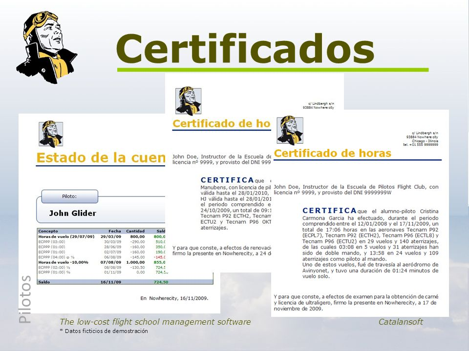 Certificados Pilotos. The low-cost flight school management software Catalansoft.