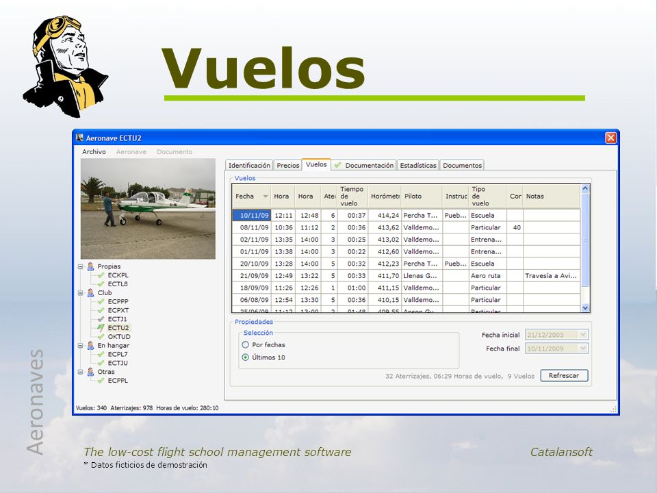 Vuelos Aeronaves. The low-cost flight school management software Catalansoft.