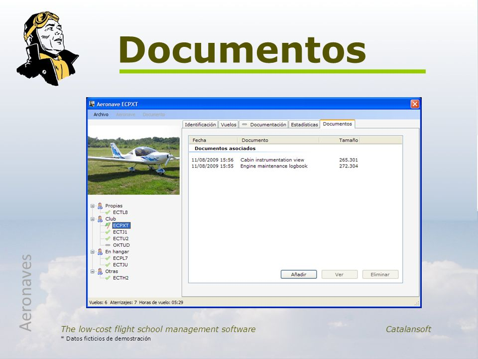 Documentos Aeronaves. The low-cost flight school management software Catalansoft.