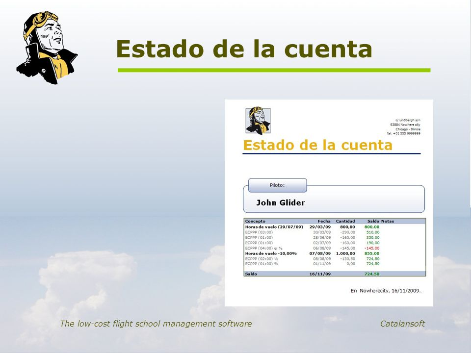 Estado de la cuenta The low-cost flight school management software Catalansoft