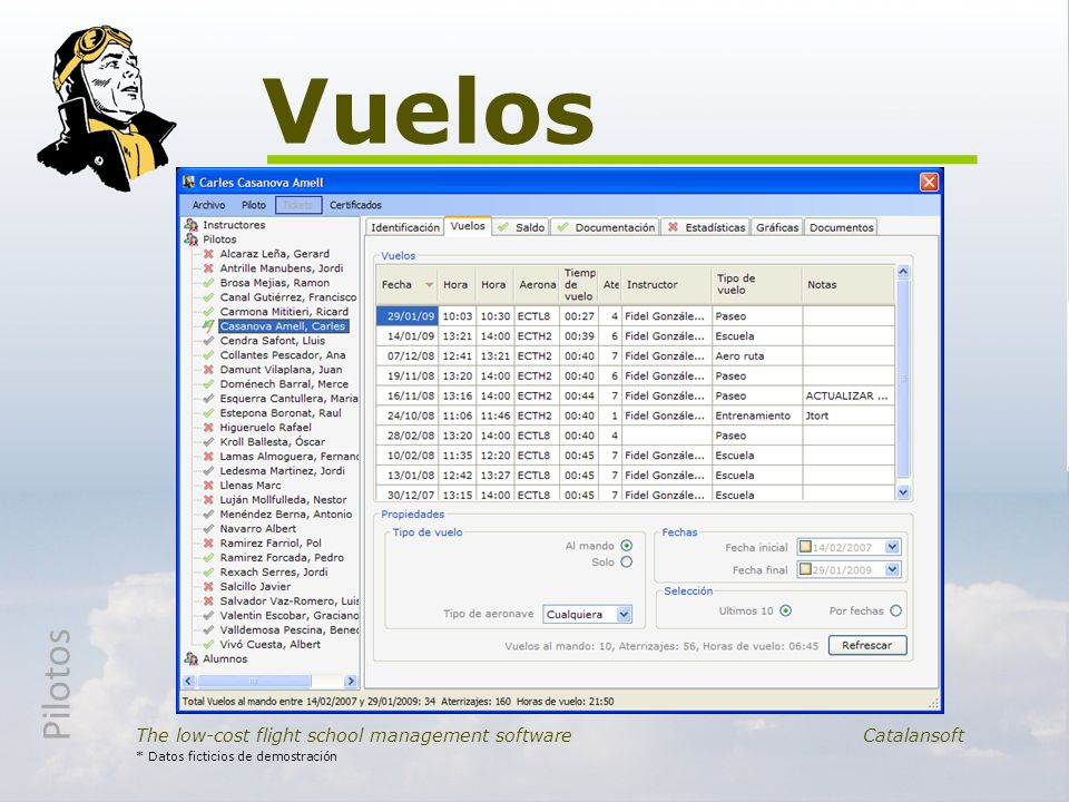 Vuelos Pilotos. The low-cost flight school management software Catalansoft.