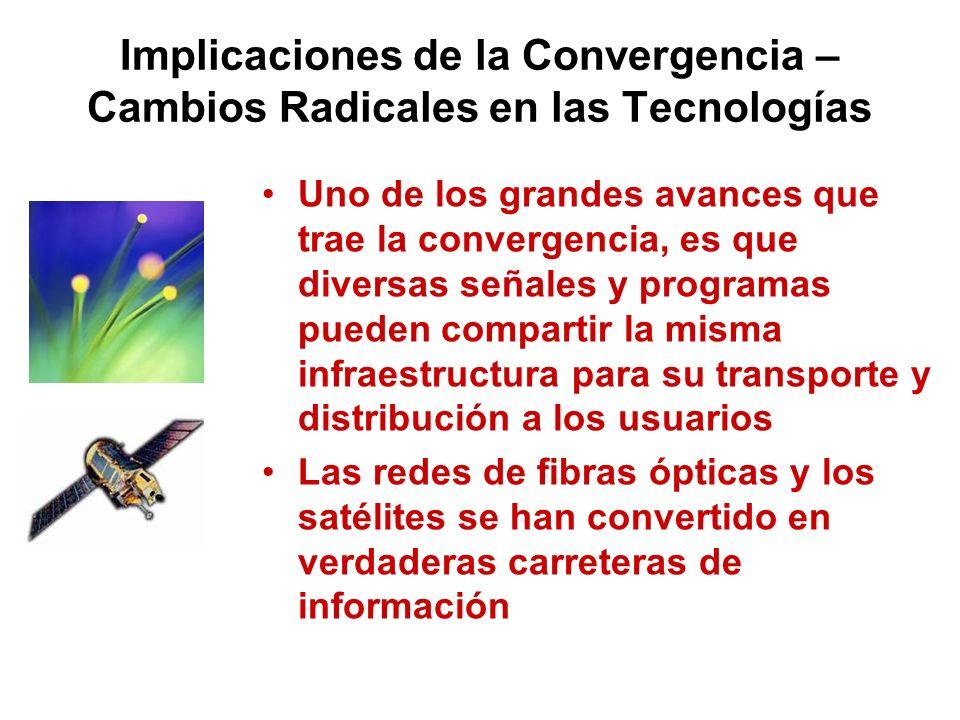 Implicaciones de la Convergencia – Cambios Radicales en las Tecnologías