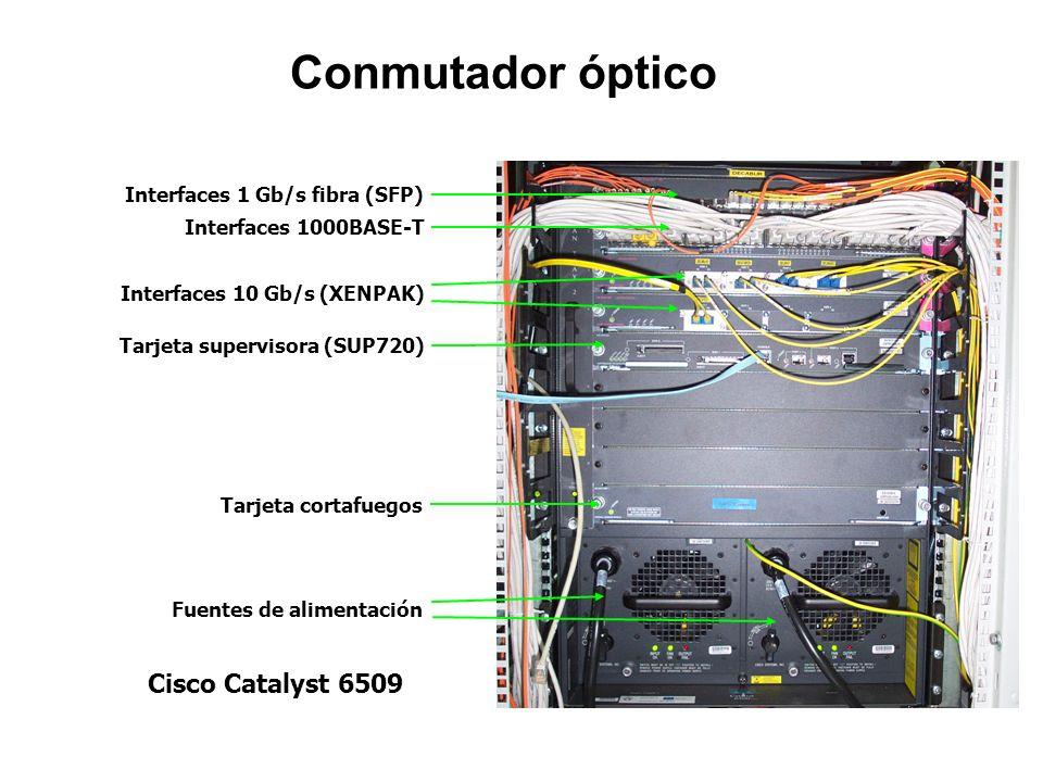 Conmutador óptico Cisco Catalyst 6509 Interfaces 1 Gb/s fibra (SFP)