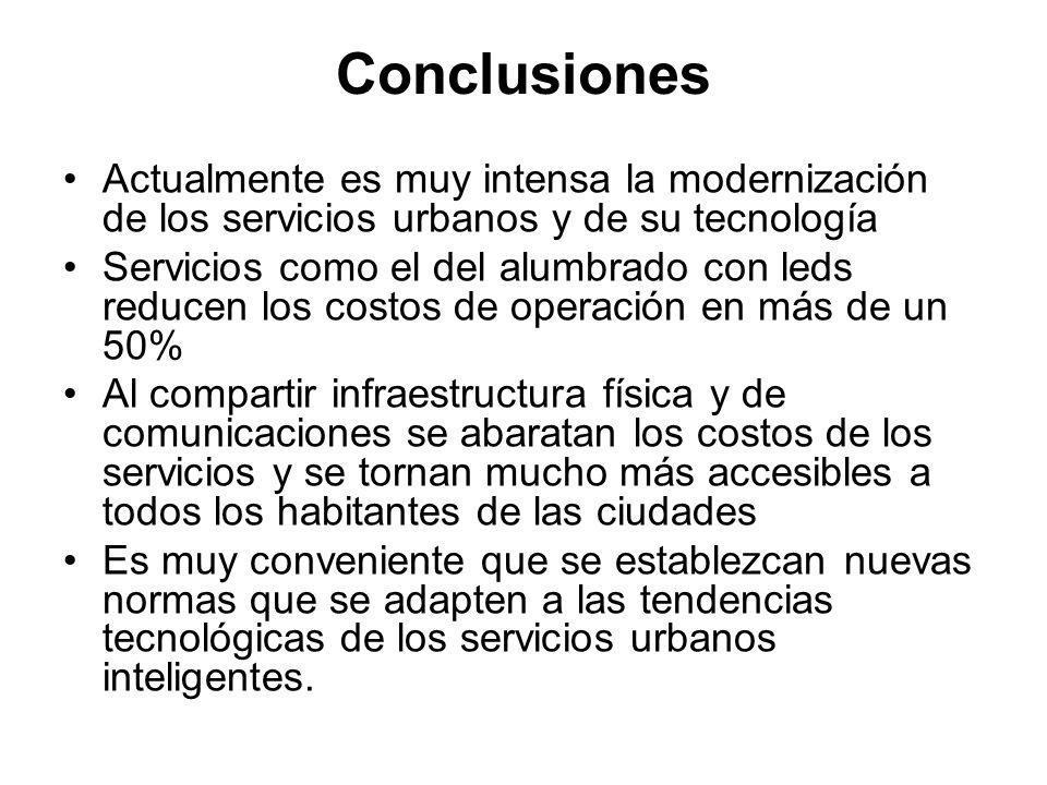 Conclusiones Actualmente es muy intensa la modernización de los servicios urbanos y de su tecnología.