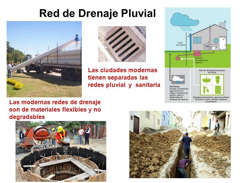 Red de Drenaje Pluvial Las ciudades modernas tienen separadas las redes pluvial y sanitaria.
