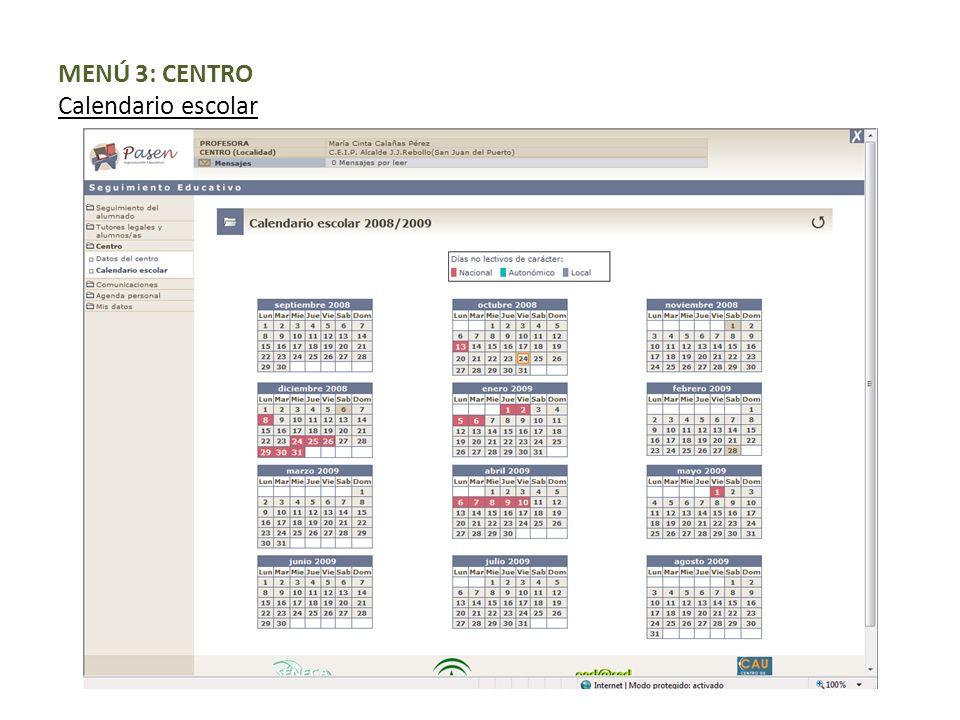 MENÚ 3: CENTRO Calendario escolar