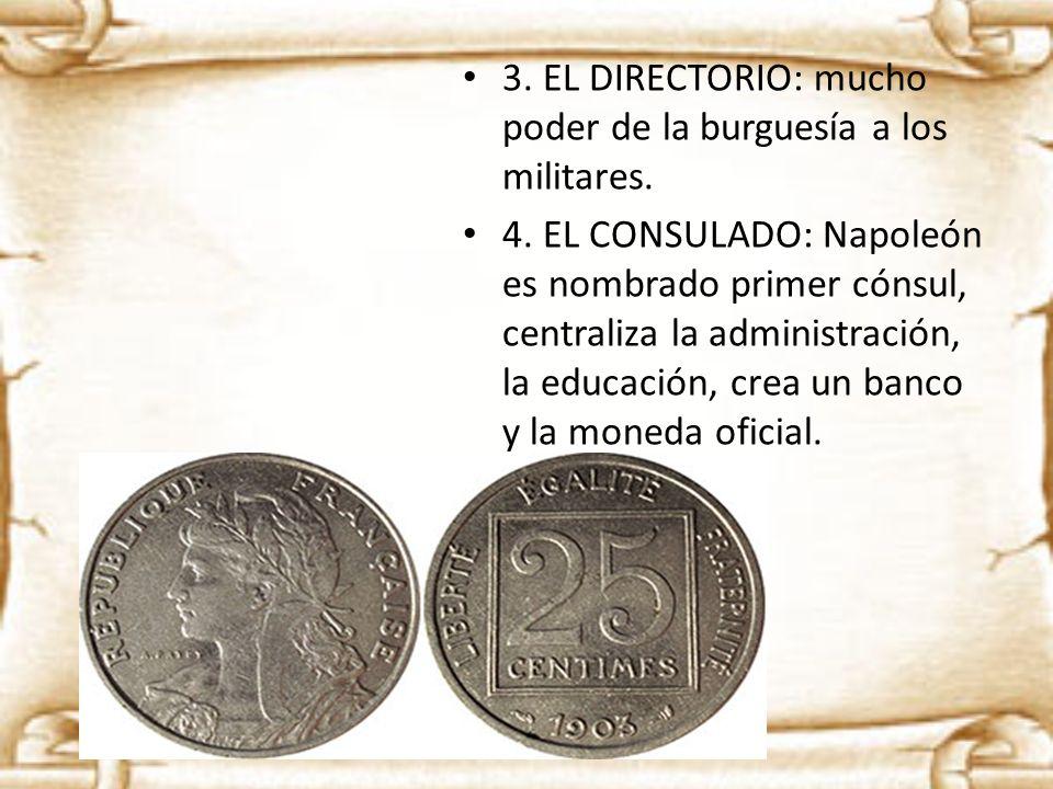 3. EL DIRECTORIO: mucho poder de la burguesía a los militares.