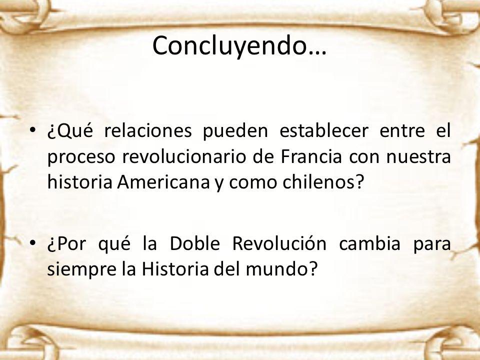 Concluyendo… ¿Qué relaciones pueden establecer entre el proceso revolucionario de Francia con nuestra historia Americana y como chilenos