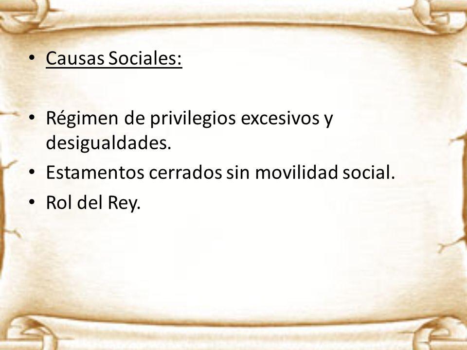 Causas Sociales:Régimen de privilegios excesivos y desigualdades. Estamentos cerrados sin movilidad social.