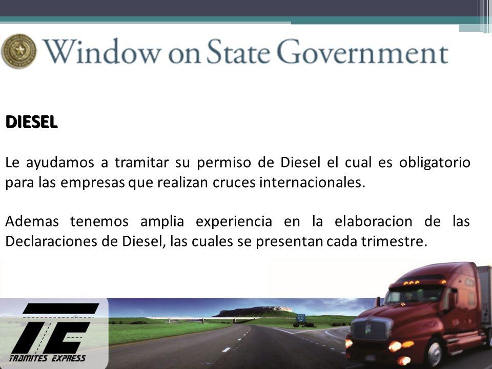 DIESEL Le ayudamos a tramitar su permiso de Diesel el cual es obligatorio para las empresas que realizan cruces internacionales.